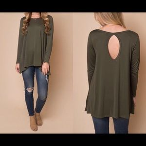Olive green long sleeve 71% polyester 23% Rayon